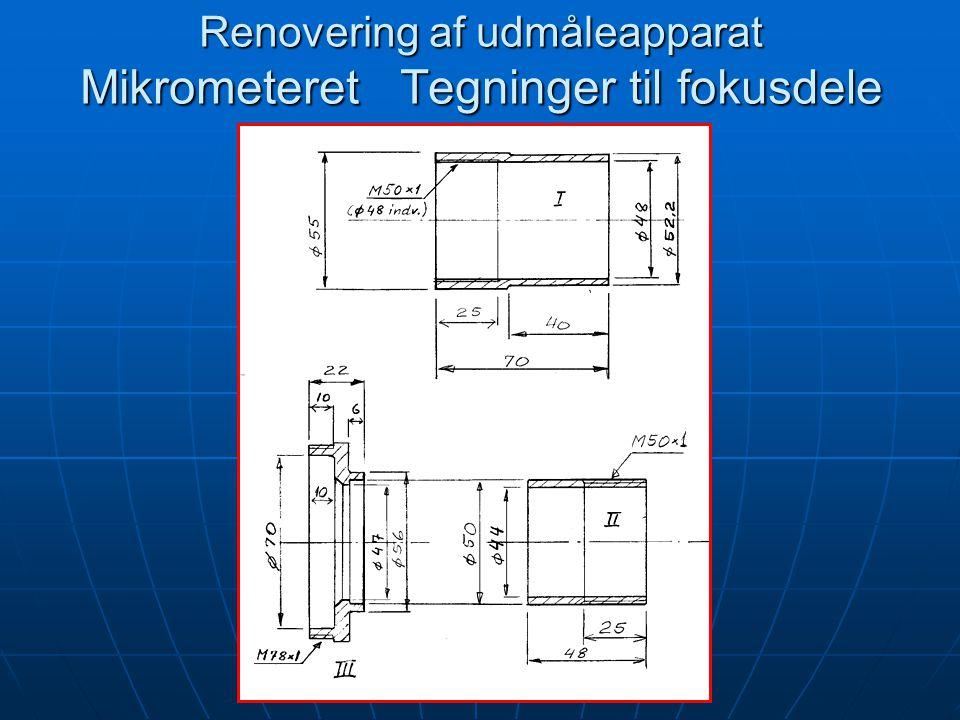 Renovering af udmåleapparat Mikrometeret Tegninger til fokusdele
