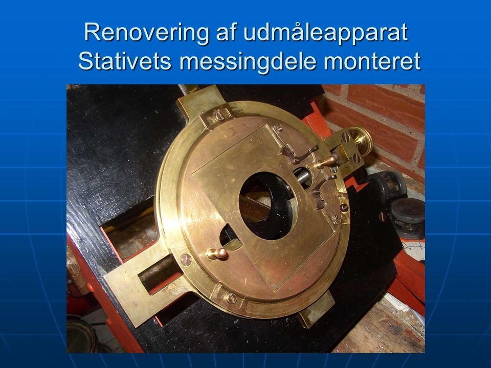 Renovering af udmåleapparat Stativets messingdele monteret