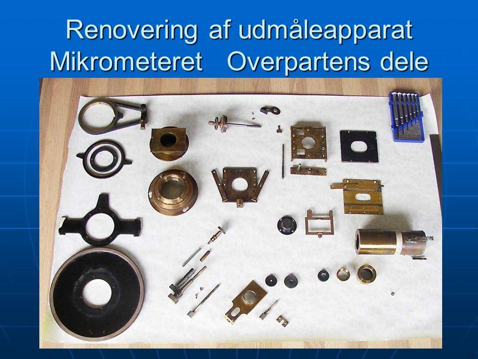 Renovering af udmåleapparat Mikrometeret Overpartens dele