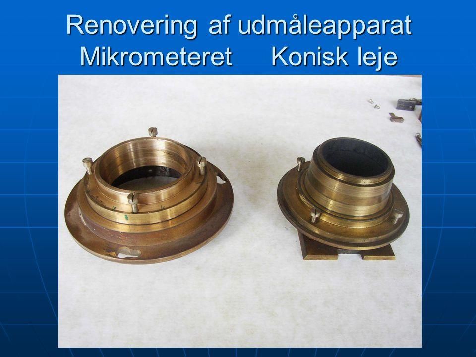 Renovering af udmåleapparat Mikrometeret Konisk leje