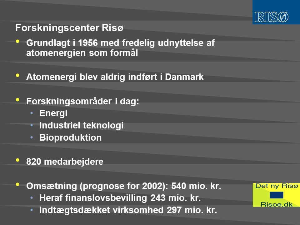 Forskningscenter Risø • Grundlagt i 1956 med fredelig udnyttelse af atomenergien som formål • Atomenergi blev aldrig indført i Danmark • Forskningsområder i dag: •Energi •Industriel teknologi •Bioproduktion • 820 medarbejdere • Omsætning (prognose for 2002): 540 mio.
