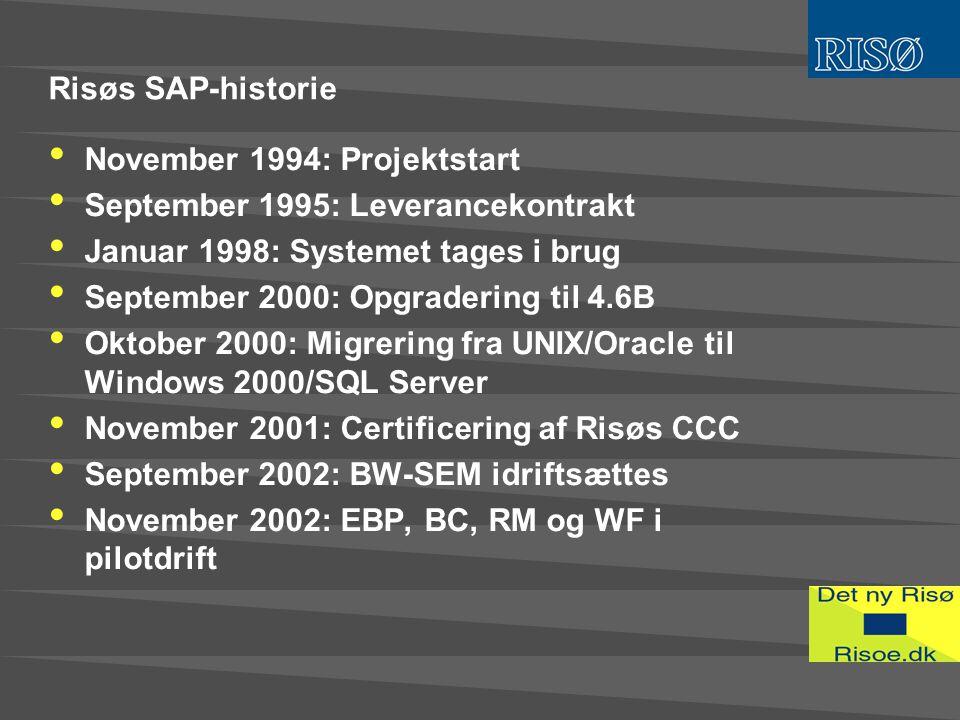 Risøs SAP-historie • November 1994: Projektstart • September 1995: Leverancekontrakt • Januar 1998: Systemet tages i brug • September 2000: Opgradering til 4.6B • Oktober 2000: Migrering fra UNIX/Oracle til Windows 2000/SQL Server • November 2001: Certificering af Risøs CCC • September 2002: BW-SEM idriftsættes • November 2002: EBP, BC, RM og WF i pilotdrift
