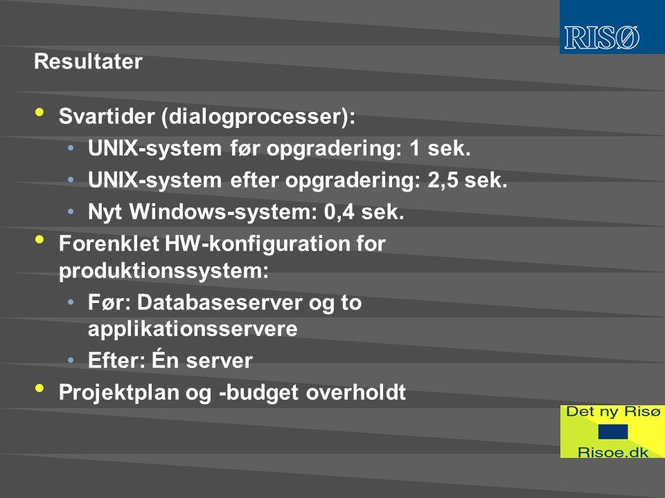 Resultater • Svartider (dialogprocesser): •UNIX-system før opgradering: 1 sek.