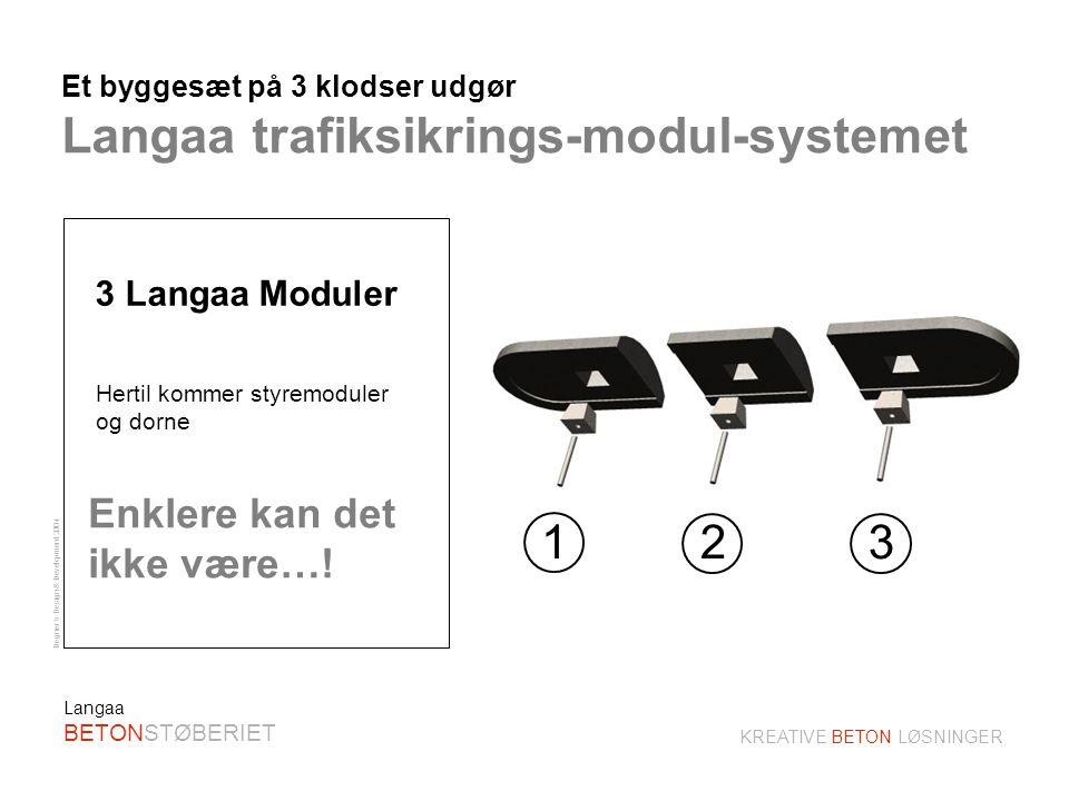 Degner´s Design & Development 2004 KREATIVE BETON LØSNINGER Langaa BETONSTØBERIET Fleksibel anvendelse af Langaa trafiksikrings-moduler Eksempler på anvendelse af Langå moduler.