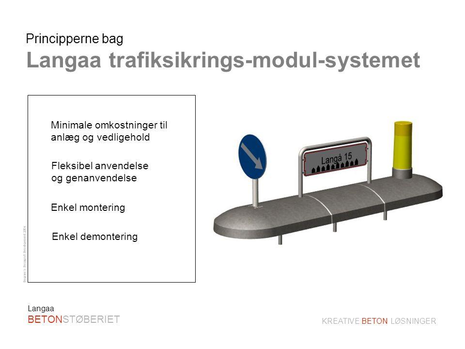 Degner´s Design & Development 2004 KREATIVE BETON LØSNINGER Langaa BETONSTØBERIET Trafiksikrings-modul-system Hurtig og enkel montage Undgå ophugning og udgravning I vejbanen