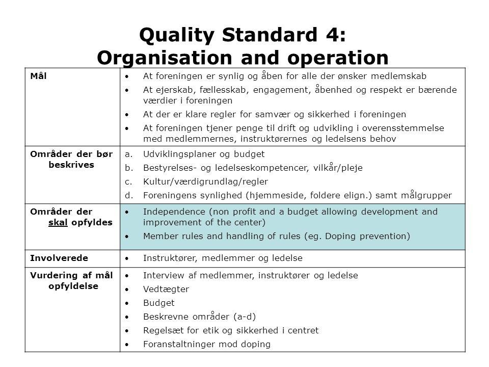 Quality Standard 4: Organisation and operation Mål At foreningen er synlig og åben for alle der ønsker medlemskab At ejerskab, fællesskab, engagement, åbenhed og respekt er bærende værdier i foreningen At der er klare regler for samvær og sikkerhed i foreningen At foreningen tjener penge til drift og udvikling i overensstemmelse med medlemmernes, instruktørernes og ledelsens behov Områder der bør beskrives a.Udviklingsplaner og budget b.Bestyrelses- og ledelseskompetencer, vilkår/pleje c.Kultur/værdigrundlag/regler d.Foreningens synlighed (hjemmeside, foldere elign.) samt målgrupper Områder der skal opfyldes Independence (non profit and a budget allowing development and improvement of the center) Member rules and handling of rules (eg.