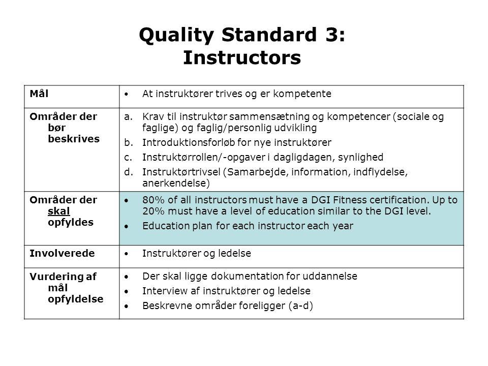 Quality Standard 3: Instructors Mål • At instruktører trives og er kompetente Områder der bør beskrives a.Krav til instruktør sammensætning og kompetencer (sociale og faglige) og faglig/personlig udvikling b.Introduktionsforløb for nye instruktører c.Instruktørrollen/-opgaver i dagligdagen, synlighed d.Instruktørtrivsel (Samarbejde, information, indflydelse, anerkendelse) Områder der skal opfyldes 80% of all instructors must have a DGI Fitness certification.