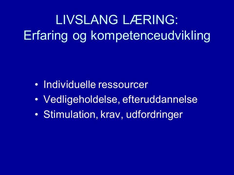 LIVSLANG LÆRING: Erfaring og kompetenceudvikling •Individuelle ressourcer •Vedligeholdelse, efteruddannelse •Stimulation, krav, udfordringer