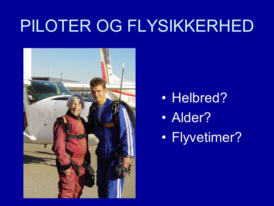 PILOTER OG FLYSIKKERHED •Helbred •Alder •Flyvetimer