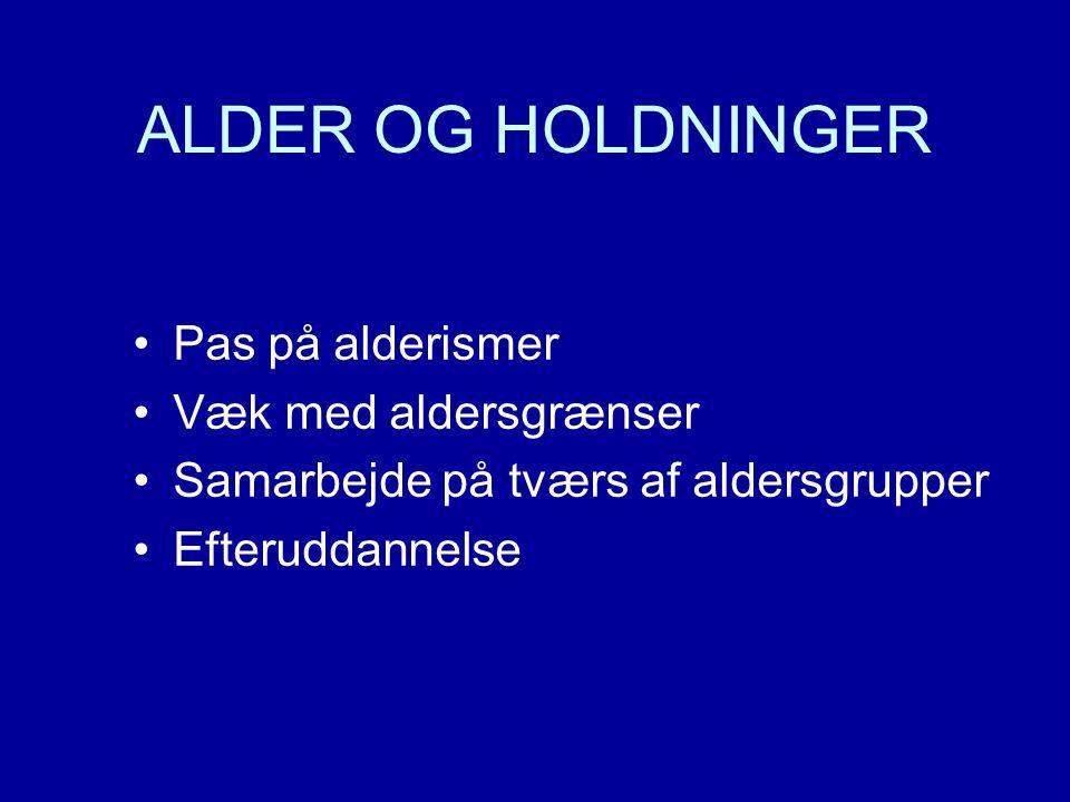ALDER OG HOLDNINGER •Pas på alderismer •Væk med aldersgrænser •Samarbejde på tværs af aldersgrupper •Efteruddannelse