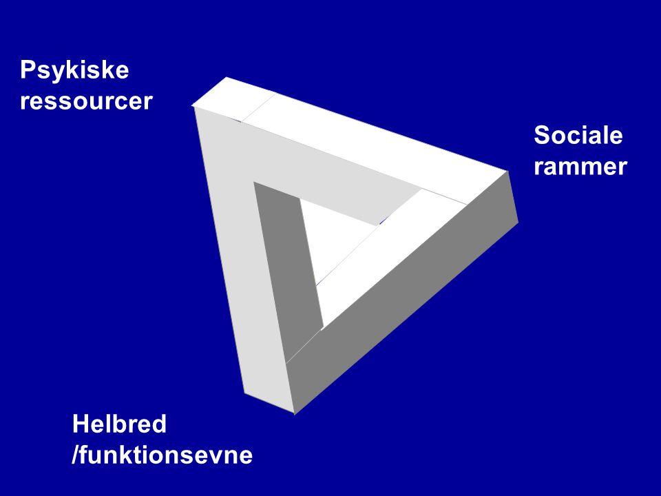 Psykiske ressourcer Helbred /funktionsevne Sociale rammer