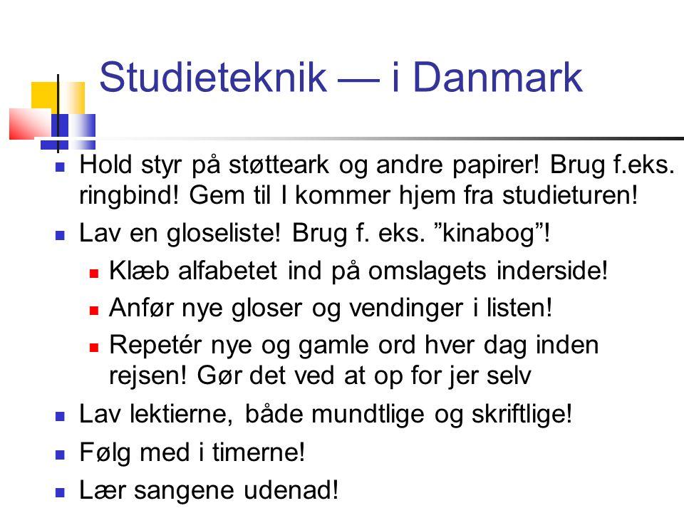 Studieteknik — i Danmark  Hold styr på støtteark og andre papirer.