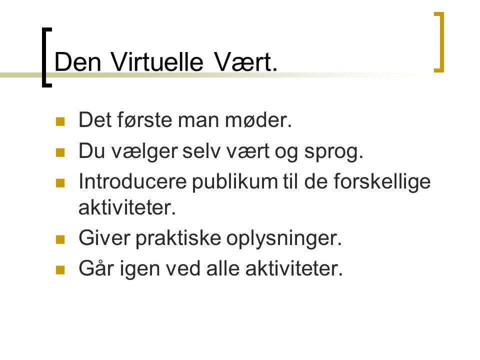 Den Virtuelle Vært.  Det første man møder.  Du vælger selv vært og sprog.