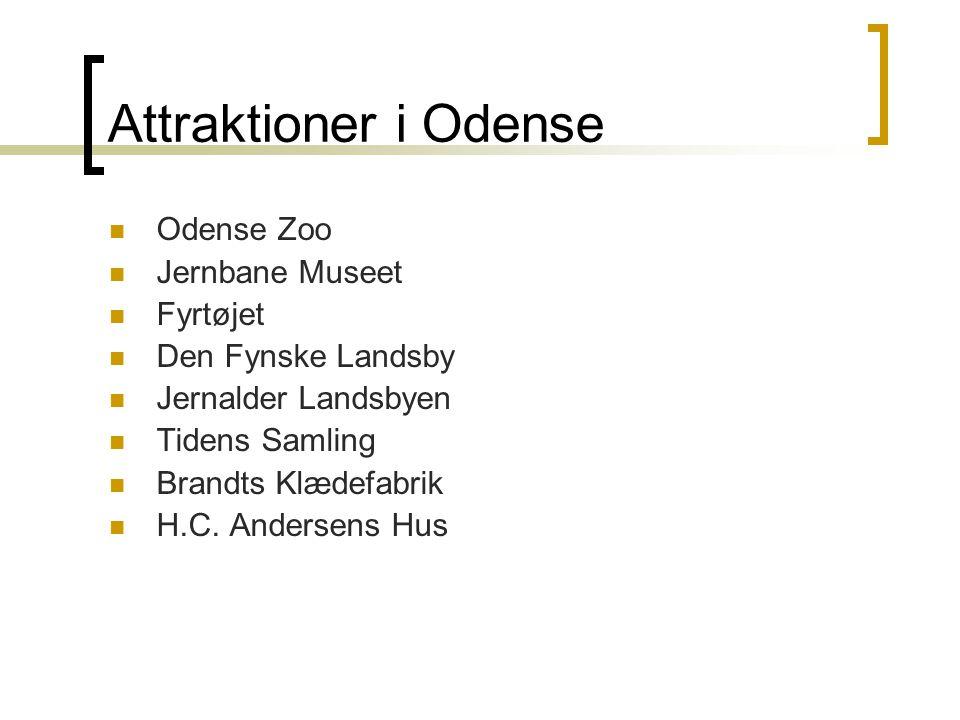 Attraktioner i Odense  Odense Zoo  Jernbane Museet  Fyrtøjet  Den Fynske Landsby  Jernalder Landsbyen  Tidens Samling  Brandts Klædefabrik  H.C.