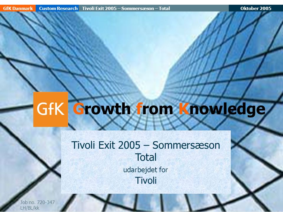 Oktober 2005Tivoli Exit 2005 – Sommersæson – TotalGfK DanmarkCustom Research 1 Tivoli Exit 2005 – Sommersæson Total udarbejdet for Tivoli Growth from Knowledge Job no.