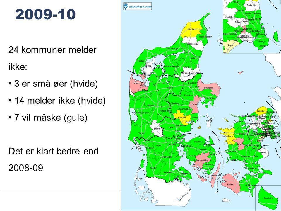 SIDE 8 2009-10 24 kommuner melder ikke: • 3 er små øer (hvide) • 14 melder ikke (hvide) • 7 vil måske (gule) Det er klart bedre end 2008-09