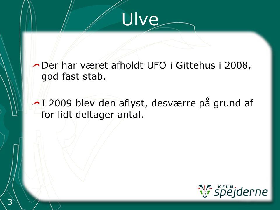 3 Ulve Der har været afholdt UFO i Gittehus i 2008, god fast stab.