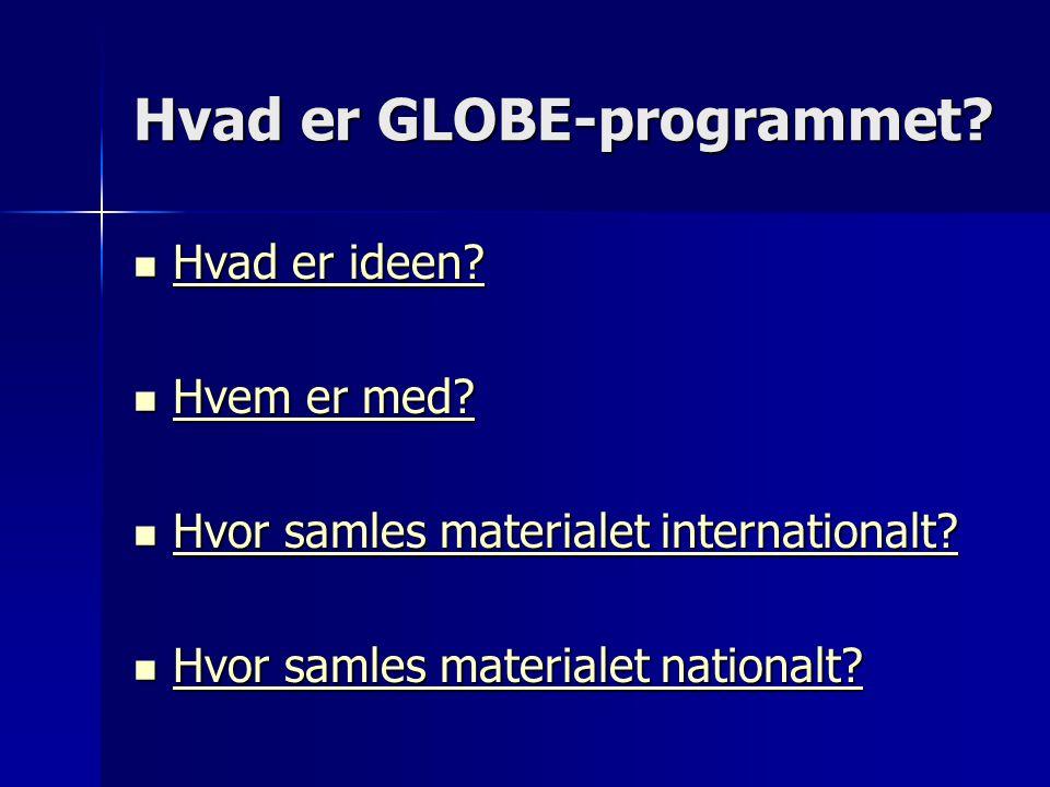 Hvad er GLOBE-programmet.  Hvad er ideen. Hvad er ideen.