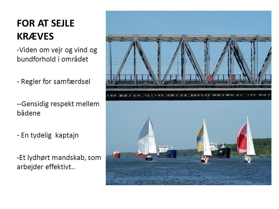 FOR AT SEJLE KRÆVES -Viden om vejr og vind og bundforhold i området - Regler for samfærdsel --Gensidig respekt mellem bådene - En tydelig kaptajn -Et lydhørt mandskab, som arbejder effektivt..