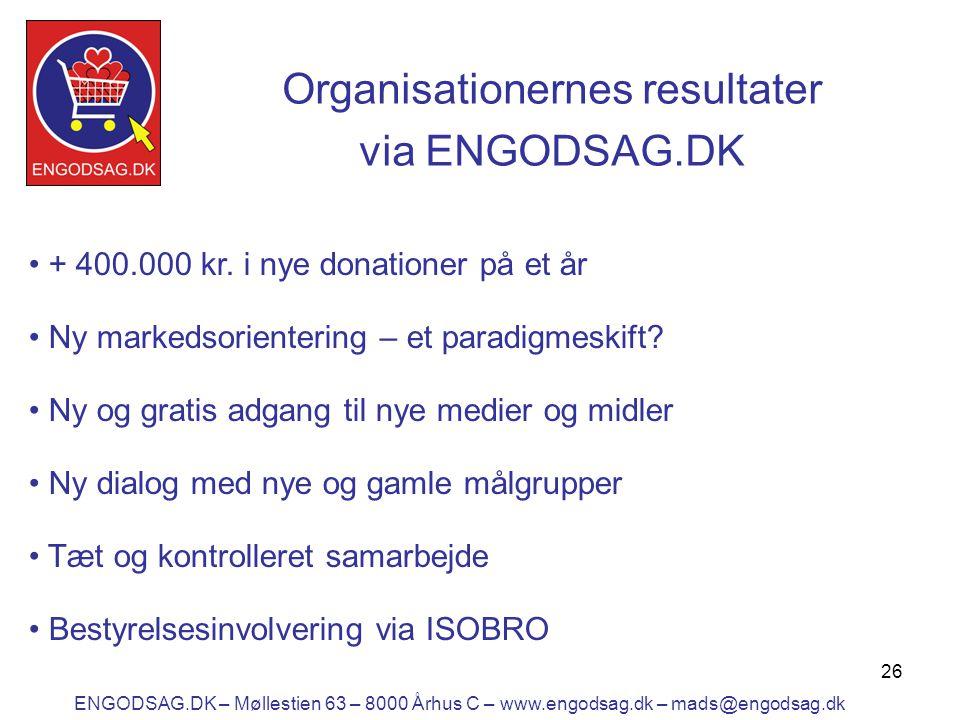26 Organisationernes resultater via ENGODSAG.DK • + 400.000 kr.