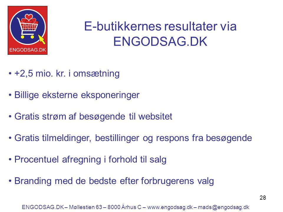 28 E-butikkernes resultater via ENGODSAG.DK • +2,5 mio.