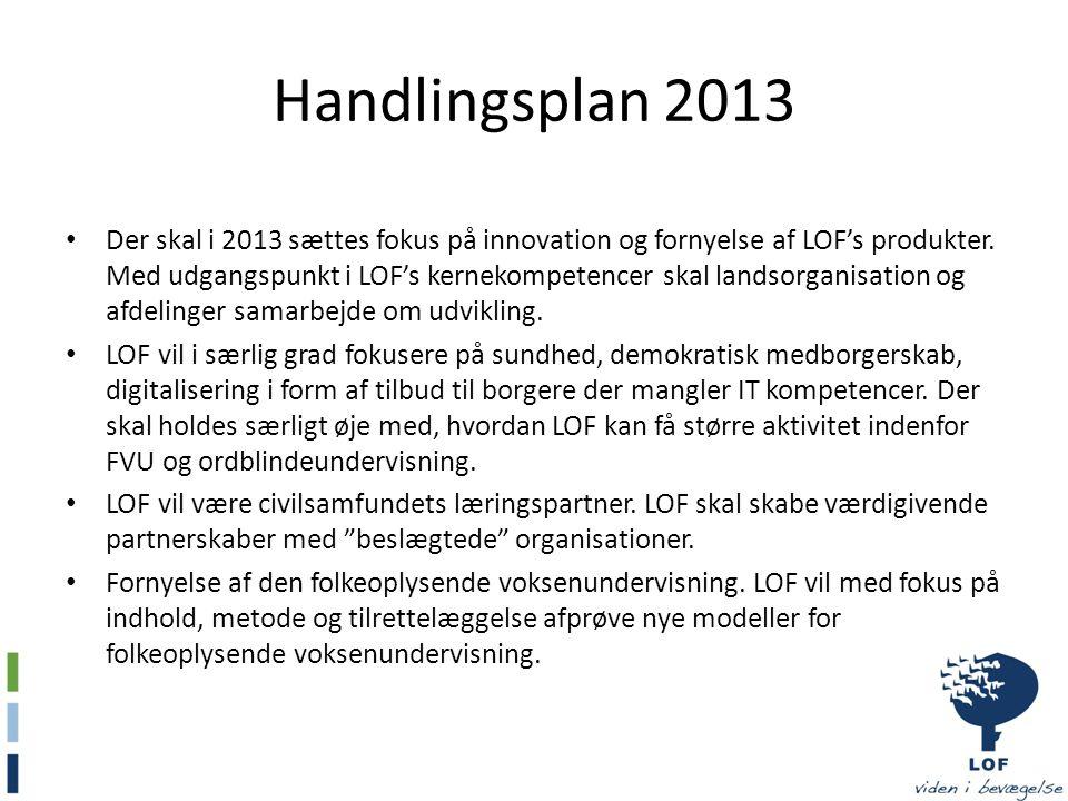 Handlingsplan 2013 • Der skal i 2013 sættes fokus på innovation og fornyelse af LOF's produkter.