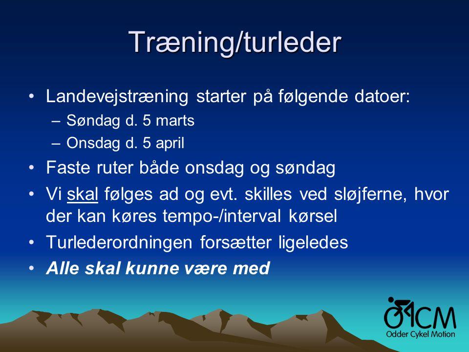 Træning/turleder •Landevejstræning starter på følgende datoer: –Søndag d.