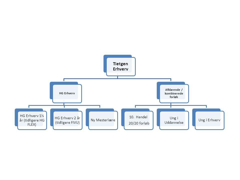 Tietgen Erhverv HG Erhverv HG Erhverv 1½ år (tidligere HG FLEX) HG Erhverv 2 år (tidligere FIVU) Ny Mesterlære Afklarende / kombinerede forløb 10.