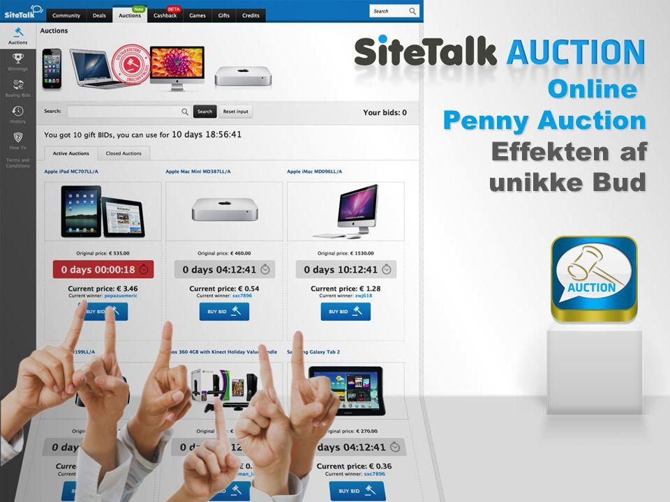 Online Penny Auction Effekten af Effekten af unikke Bud