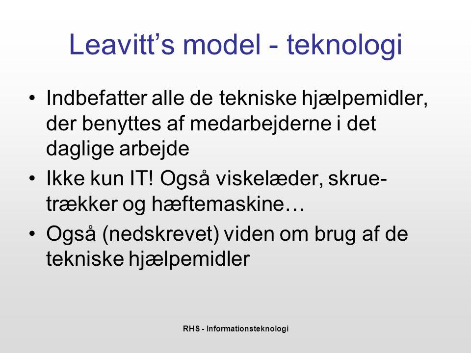 RHS - Informationsteknologi Leavitt's model - teknologi •Indbefatter alle de tekniske hjælpemidler, der benyttes af medarbejderne i det daglige arbejde •Ikke kun IT.