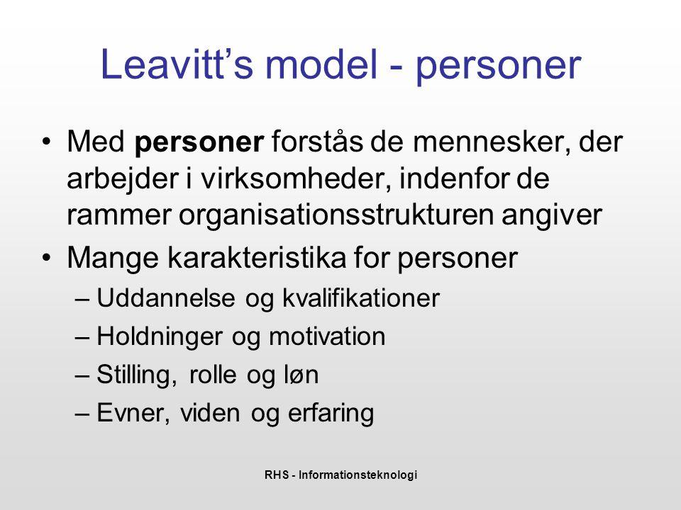 RHS - Informationsteknologi Leavitt's model - teknologi •Hvorfor benyttes den nuværende teknologi (tradition, kompetencer,…).