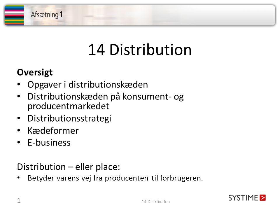 14 Distribution Oversigt • Opgaver i distributionskæden • Distributionskæden på konsument- og producentmarkedet • Distributionsstrategi • Kædeformer • E-business Distribution – eller place: • Betyder varens vej fra producenten til forbrugeren.