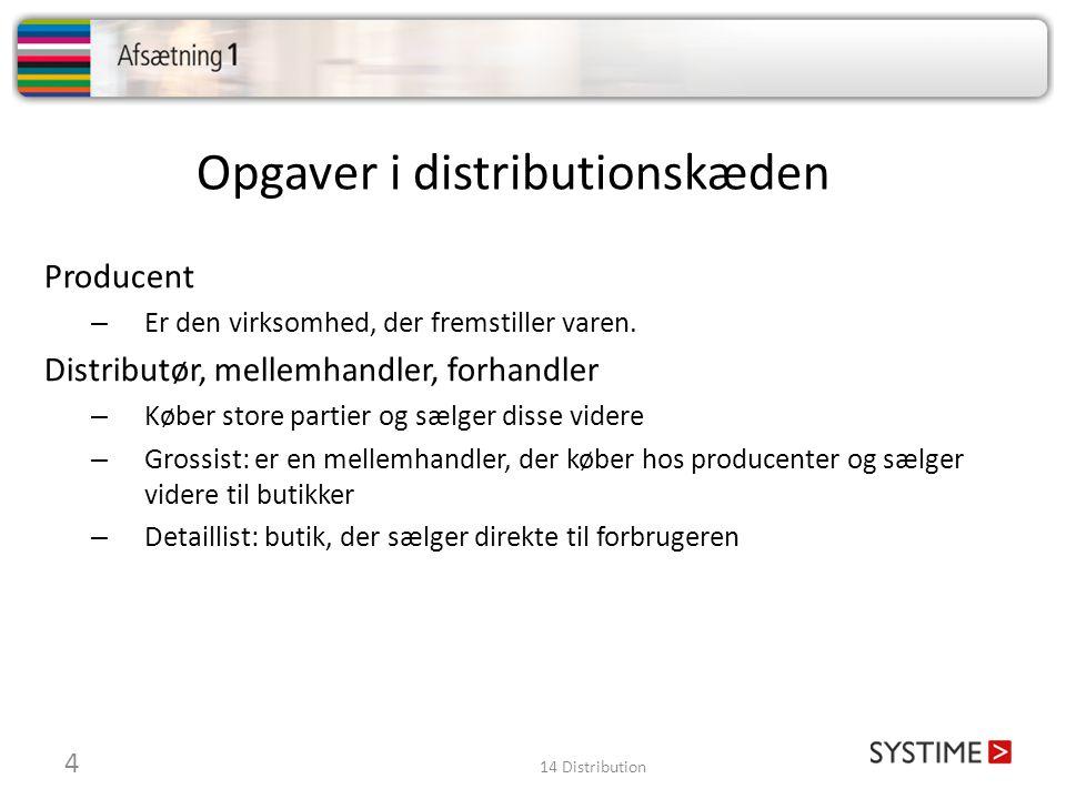Opgaver i distributionskæden Producent – Er den virksomhed, der fremstiller varen.