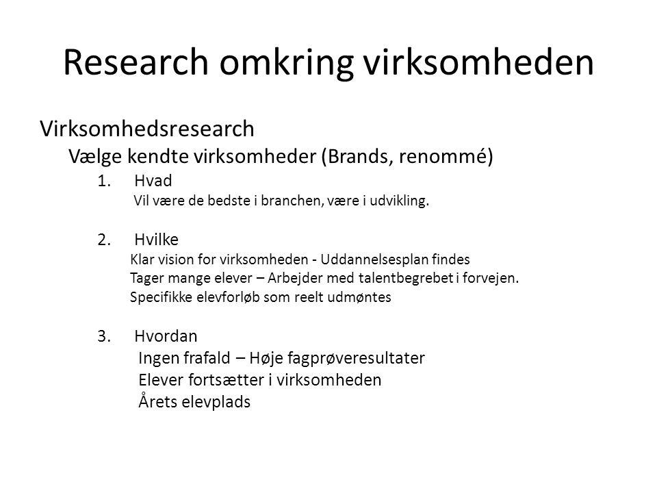 Research omkring virksomheden Virksomhedsresearch Vælge kendte virksomheder (Brands, renommé) 1.Hvad Vil være de bedste i branchen, være i udvikling.
