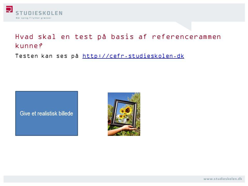 Hvad skal en test på basis af referencerammen kunne.