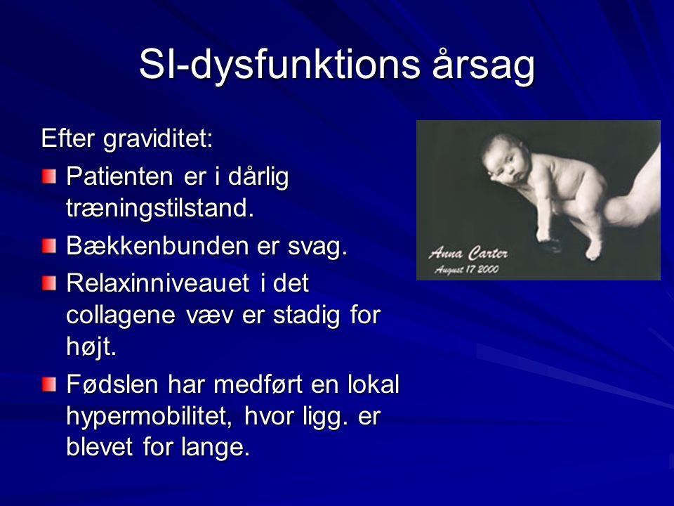 SI-dysfunktions årsag Efter graviditet: Patienten er i dårlig træningstilstand. Bækkenbunden er svag. Relaxinniveauet i det collagene væv er stadig fo
