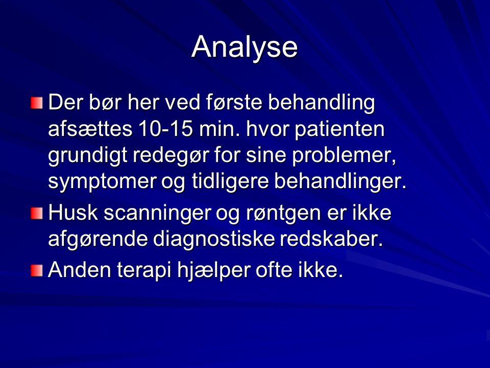 Analyse Der bør her ved første behandling afsættes 10-15 min. hvor patienten grundigt redegør for sine problemer, symptomer og tidligere behandlinger.