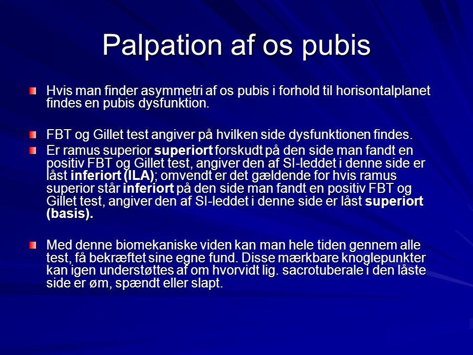 Palpation af os pubis Hvis man finder asymmetri af os pubis i forhold til horisontalplanet findes en pubis dysfunktion. FBT og Gillet test angiver på