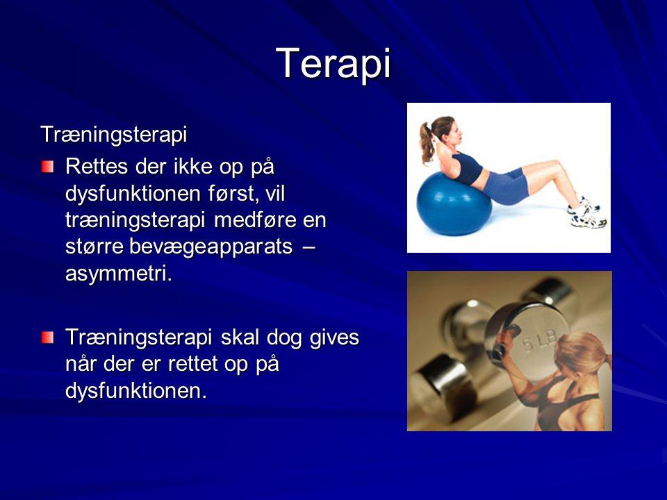 Terapi Træningsterapi Rettes der ikke op på dysfunktionen først, vil træningsterapi medføre en større bevægeapparats – asymmetri. Træningsterapi skal