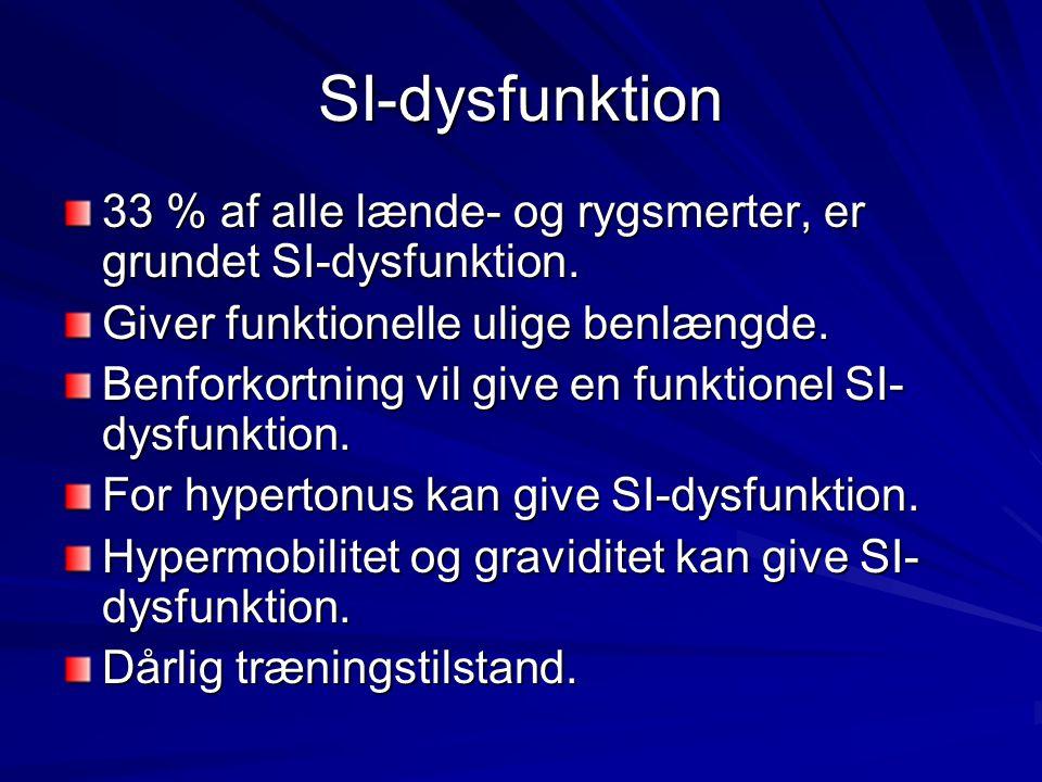 SI-dysfunktion 33 % af alle lænde- og rygsmerter, er grundet SI-dysfunktion. Giver funktionelle ulige benlængde. Benforkortning vil give en funktionel