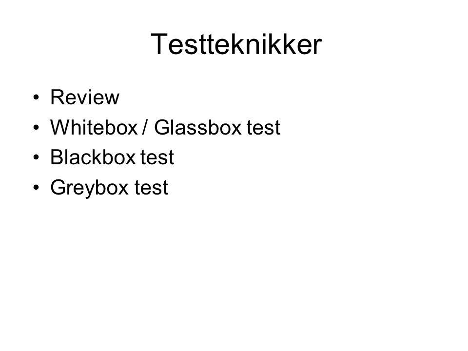 Testteknikker •Review •Whitebox / Glassbox test •Blackbox test •Greybox test