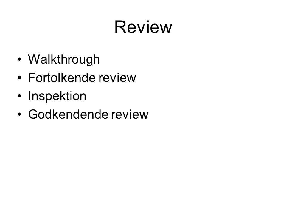 Review •Walkthrough •Fortolkende review •Inspektion •Godkendende review
