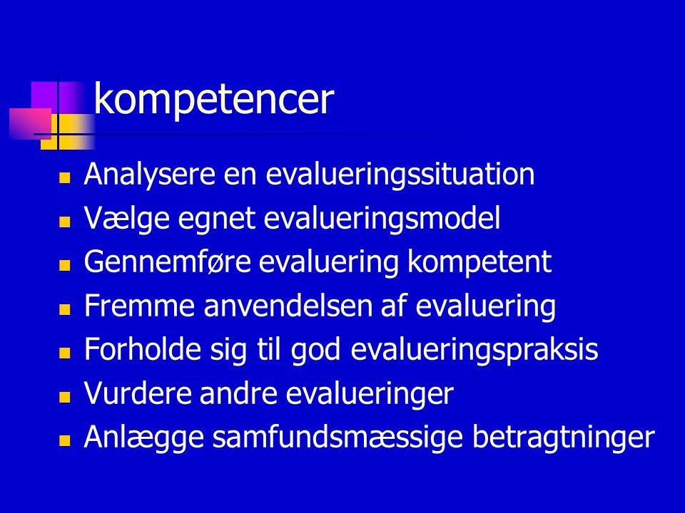 kompetencer  Analysere en evalueringssituation  Vælge egnet evalueringsmodel  Gennemføre evaluering kompetent  Fremme anvendelsen af evaluering  Forholde sig til god evalueringspraksis  Vurdere andre evalueringer  Anlægge samfundsmæssige betragtninger