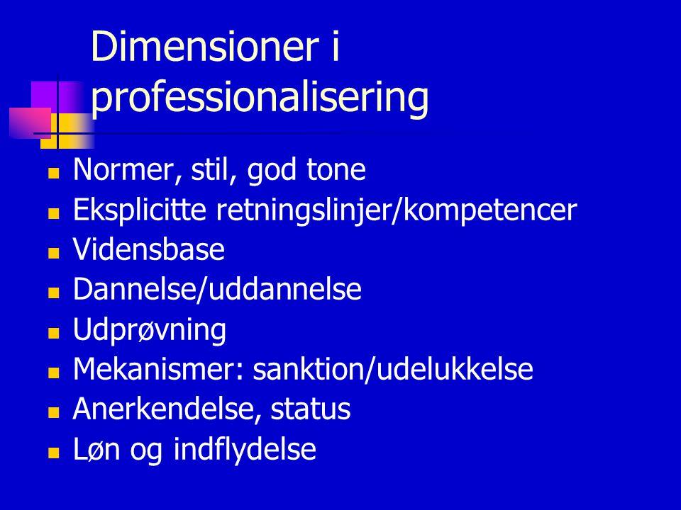 Dimensioner i professionalisering  Normer, stil, god tone  Eksplicitte retningslinjer/kompetencer  Vidensbase  Dannelse/uddannelse  Udprøvning  Mekanismer: sanktion/udelukkelse  Anerkendelse, status  Løn og indflydelse