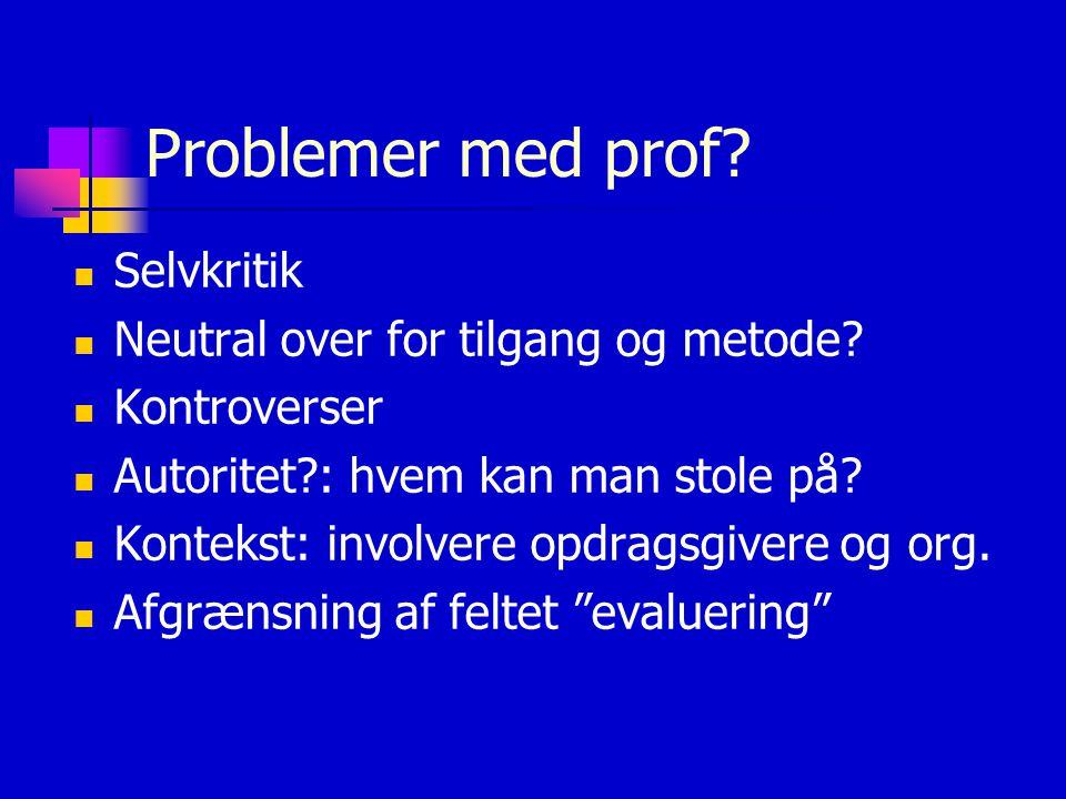 Problemer med prof.  Selvkritik  Neutral over for tilgang og metode.