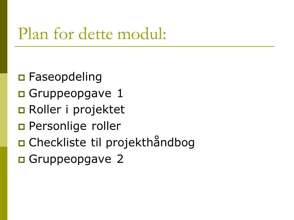 Plan for dette modul:  Faseopdeling  Gruppeopgave 1  Roller i projektet  Personlige roller  Checkliste til projekthåndbog  Gruppeopgave 2