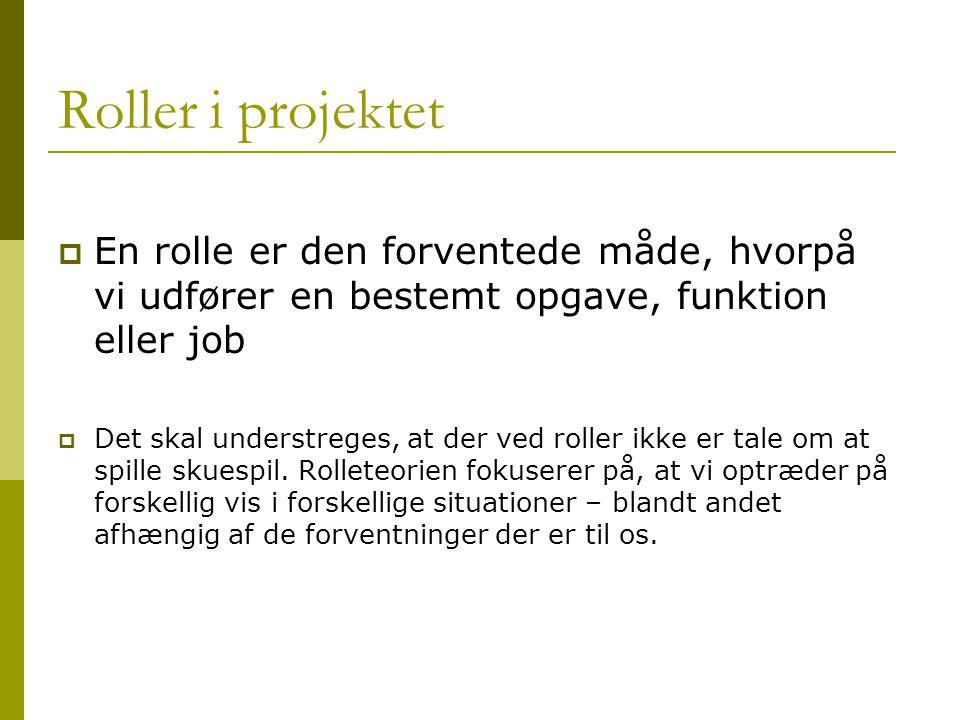 Roller i projektet  En rolle er den forventede måde, hvorpå vi udfører en bestemt opgave, funktion eller job  Det skal understreges, at der ved roller ikke er tale om at spille skuespil.