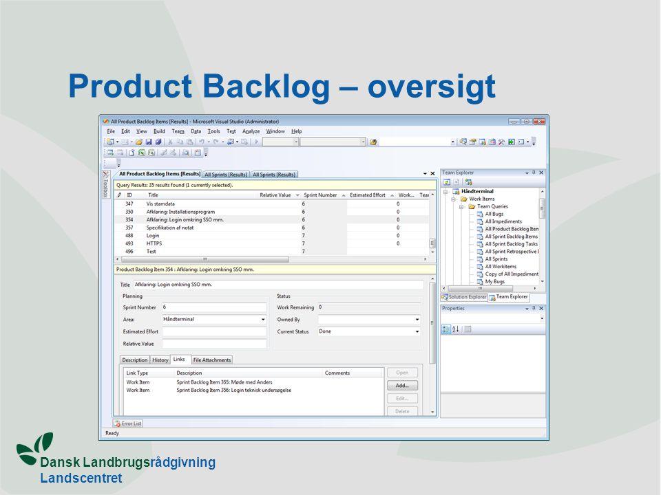Dansk Landbrugsrådgivning Landscentret Product Backlog – oversigt