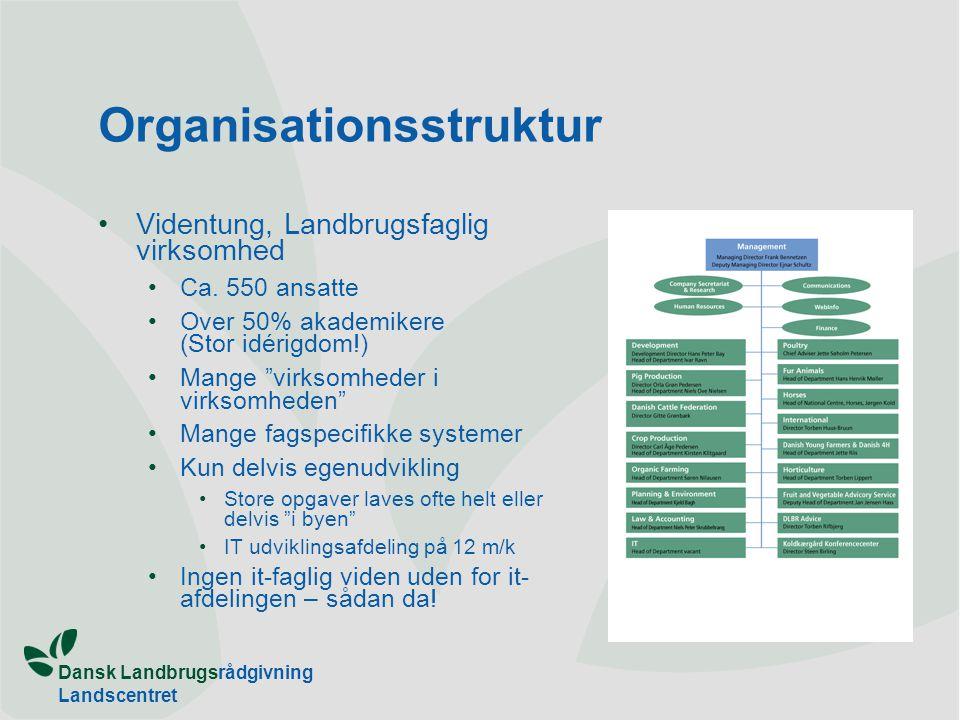 Dansk Landbrugsrådgivning Landscentret Organisationsstruktur •Videntung, Landbrugsfaglig virksomhed •Ca.