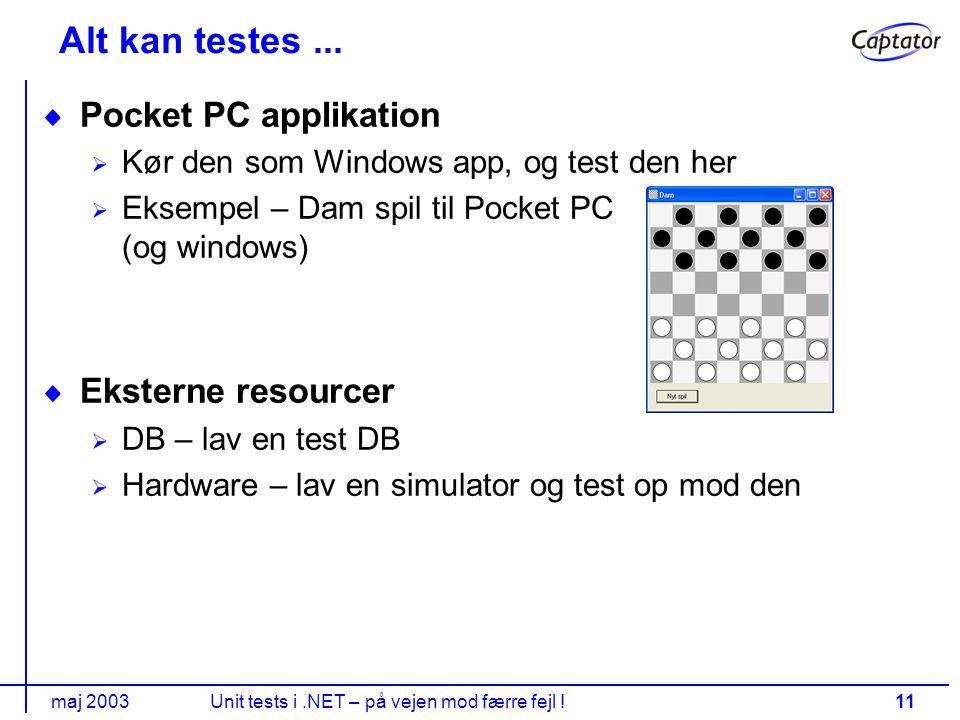 maj 2003Unit tests i.NET – på vejen mod færre fejl !11 Alt kan testes...
